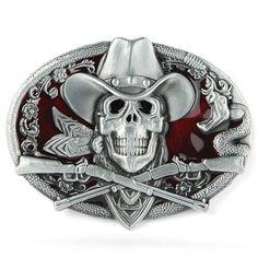 High Quality Western Ghost Skeleton Skull Guns Men s Belt Buckle -  12.95  Boucles De Ceinture Cool 568eb97432c