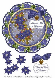 Blue Poinsettia Across Miles 8in Doily Decoupage Topper on Craftsuprint - Add To Basket!