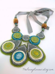 Embroidered Statement Necklace / Felt Bib Necklace / Aqua, Grey, and Lime Green / Fall Necklace on Etsy Geek Jewelry, Diy Jewelry, Jewelery, Jewelry Making, Bullet Jewelry, Gothic Jewelry, Jewelry Necklaces, Felt Necklace, Fabric Necklace