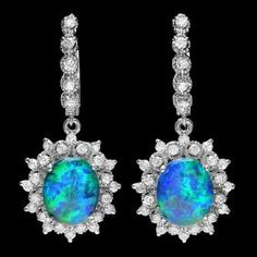 14k Gold 5.00ct Opal 1.65ct Diamond Earrings