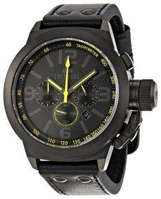 714f9ed9bae  TW Steel Men s TW900 Cool Black Black Leather Strap Watch Watches Online