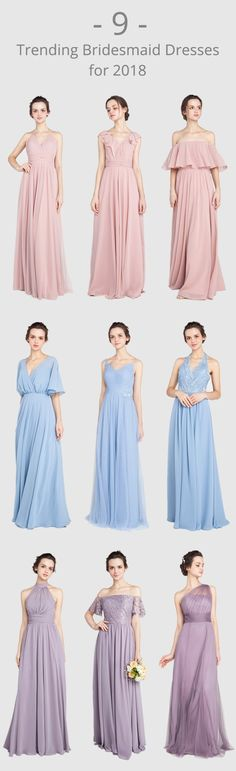 9 trending bridesmaid dresses for 2018 in dusty rose, windsor blue and mauve #bridalparty #bridesmaid #bridesmaiddresses