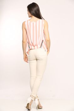 """We love stripes! We are lovinggg our new """"Striped Chiffon Tank"""" pair it with your favorite black leather leggings & accessorize it with gold bangles for a divine night time look! Order yours today, visit www.cicihot.com fo more ways to be hot!  #top #chiffon #cute #stylish #style #trendy #top #fashion #fashionista #welovefashion #worldoffashion #behot #cicihot"""