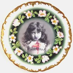lucy the zombie girl portrait altered antique plate $59.00