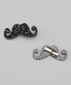 Take a look at this Mini Vinca USA Black Glitter Mustache Clip - Set of Two by Mini Vinca USA on #zulily today!