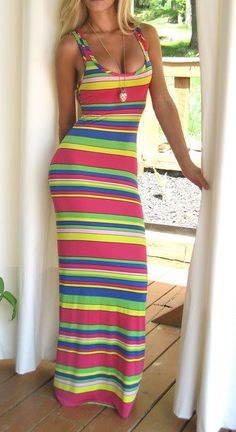 MULTI COLOR STRIPED TANK LONG FITTED MAXI DRESS. Price $40.00 website www.jeanfrancoisboutique.com