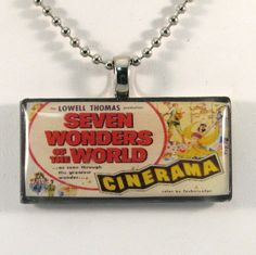 Vintage Postcard Necklace  Seven Wonders of the World by 12be, $14.50
