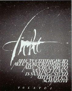 Op ruw, handgeschept papier geschreven spreuk (brede pen, zware trekpen en verdunde plakkaatverf)