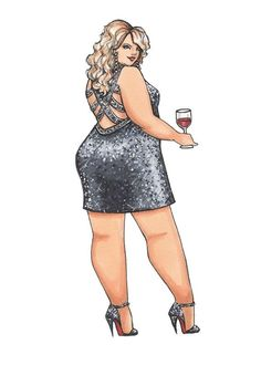 Items similar to Party Girl, Plus Size Fashion Illustration, Art Print of an Artist Marker Sketch on Etsy - This lady is ready for the party in a stunning sequinned gown – and perfectly accessorized with a - Black Girl Art, Black Women Art, Art Girl, Curvy Women Fashion, Plus Size Fashion, Art Beauté, Plus Size Art, Modelos Plus Size, Dibujos Cute