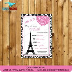 French Themed Birthday Party Invitation - Pink, Black and White Birthday Invitation - Ohh la la - printable Invite. This listing is for a x invitation (your choice of a printable file or printed and shipped) customized with your event details. Pink Invitations, Printable Invitations, Birthday Party Invitations, Birthday Party Themes, Invite, Pink Black, Black And White, Corporate Gifts, Rsvp