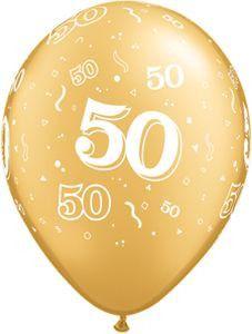 Gold ??50th Anniversary?? Round Latex Balloons | 50 ct