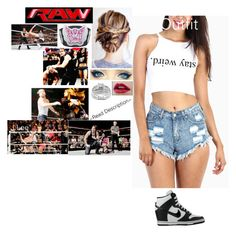 """""""~ Read Description ~ Monday Night Raw - Dean Ambrose Vs. Dolph Ziggler With J.Lee And Allie Ringside!"""" by riley-497 ❤ liked on Polyvore featuring NIKE and Kobelli"""