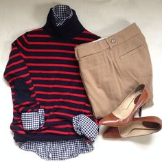 Business Casual. // j.crew (shirt, sweater) / Banana Republic (Martin fit pants) / Cole Haan (shoes) // @jacquelyn_grace_ (Instagram)