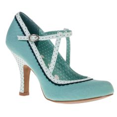 Ruby Shoo Jessica Mint ShoesA pretty mint green T-bar court with polka dot trim, ideal for your events during spring and summer.High heel height - 9cmMedium width fitting - DUpper/Lining/Sole - Textile/Other/OtherMint Green