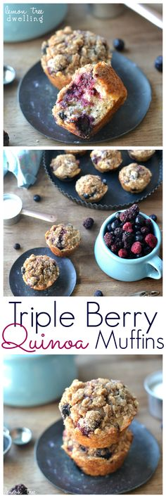 Triple Berry Quinoa Muffins made with @TruviaBrand! #ad