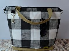 Diaper bag - buffalo plaid in black and white,  Waterproof base satchel by Darby Mack - Made in the USA