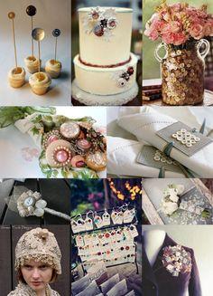 Vintage Button Wedding Ideas Mood Board