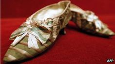 Another view of the shoes which belonged to French queen Marie Antoinette. Sold on 10/17/12 by Paris Drouot auction house for 50,000 euros (over 65,600 dollars!)