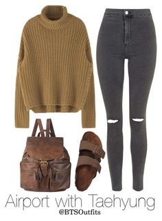 """""""Airport with Taehyung"""" by btsoutfits ❤ liked on Polyvore featuring Topshop, Birkenstock and Forever 21"""