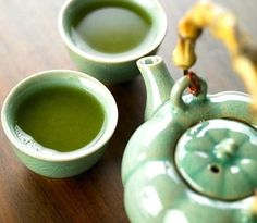 Green Tea: and the jade ware too.  Bought some in Thailand -- so pretty.