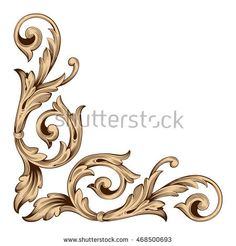 Vintage baroque scroll ornament engraving floral retro pattern antique style acanthus foliage swirl decorative design element filigree calligraphy. White background.