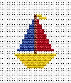 Little yacht simple X-stitch Easy Cross Stitch Patterns, Cross Stitch For Kids, Cross Stitch Cards, Simple Cross Stitch, Cross Stitch Baby, Cross Stitch Designs, Cross Stitching, Cross Stitch Embroidery, Stitch Crochet