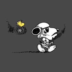 and Snoopy - artist unknown - Star Wars Peanuts Cartoon, Peanuts Snoopy, Tableau Star Wars, Snoopy Pictures, Nerd, Snoopy Quotes, Charlie Brown And Snoopy, Snoopy And Woodstock, Star Wars Tshirt