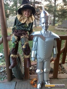 tin man & scare crow for tin man costume inspiration board.. very cool use of non fraying edge of viyl to cut out the chest piece or tin part clever way to make the articulated joints #tinmancostume #tinman #wizardofoz #oz