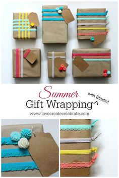 Summer Gift Wrap - Love Create Celebrate using elastic from Pick Your Plum!!