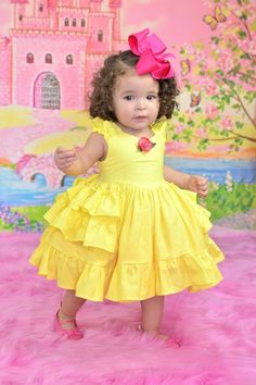 Diy Crafts - Baby princess Belle dress by SoSoHippo on Etsy Girls Belle Dress, Princess Belle Dress, Princess Dresses, Disney Princess, Baby Frocks Designs, Kids Frocks Design, African Dresses For Kids, Little Girl Dresses, Baby Girl Dress Patterns