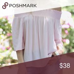 Blush Off Shoulder Top  Sweet blush pink off shoulder top. Light and airy for summer, crinkle gauze material. I think this has such a romantic style to it   ▫️Sizes available: S | M | L ▫️Material: 100% rayon ▫️I am modeling size S ▫️Price firm unless bundling ▫️Made in USA  Photos are my own. You can always feel safe shopping with me. Boutique Tops