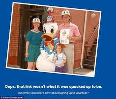 Even Hillary Clinton's 404 page, where website users end up if they type the wrong address, features some vintage Clinton of the family visiting one of the Disney parks