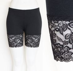 Lace Shorts, Black Bamboo Bike Shorts with Wide Lace Trim