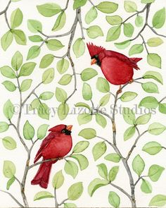 'Cardinals in Leaves' ………………………..... Original Watercolor By Tracy Lizotte ………………………………………………………...…… (Photo Courtesy of Etsy.com)