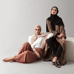 New SS17 essentials now online. Mocha Palazzo Pants White Classic Top Washed Sand Light Rayon Hijab -  Vintage Khaki Kimono with Fringing Coal High Neck Rayon Top Coal Straight Leg Rayon Trousers  Black Soft Crepe Hijab www.inayah.co