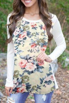 Sweet Scoop Collar Long Sleeve Floral Print Spliced Women's T-ShirtT-Shirts | RoseGal.com