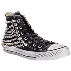 Chains on shoes inspiration Sock Shoes, Cute Shoes, Me Too Shoes, Shoe Boots, Black High Top Sneakers, Metallic Sneakers, Converse Shoes, Converse High, Converse Trainers
