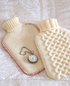 Aran and Stocking Stitch Hot Water Bottle Covers (free pattern) - Use these two knitting stitches to dress-up your hot-water bottles in a beautiful and cosy way / Daily Fix Knitting Patterns Free, Knit Patterns, Free Pattern, Knitting Stitches, Crochet Home, Knit Crochet, Water Bottle Covers, Recycled Sweaters, Old Sweater