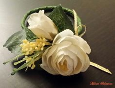 Wrist#corsage #floral design.#Silk #flowers. #Ivory color . #Ranunculus  flower.Beauty lies in details!New from #WARDYFLORAL.#Manal Solaiman.