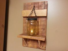 Items similar to Mason jar Candle Holder, Country Decor, sconce candle holder, lantern shelf, reclaimed wood candle holder price is for 1 each on Etsy Mason Jar Candle Holders, Rustic Candle Holders, Rustic Candles, Wall Candle Holders, Mason Jar Candles, Country Decor, Rustic Decor, Country Crafts, Rustic Wood