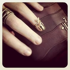 Oh I want! <3 Nail Rings from Mid/Wasteland perfectly paired with a basic David Yurman and Prada.
