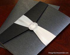 Ivory Embossed Pebble Wedding Pocket Fold Invitation Suite w. Rhinestone Buckle on Etsy, $8.95