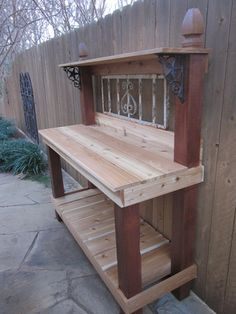 Supposed to be a potting table - would be nice as a grill table or for keeping flatware and glasses in the backyard.