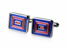 Bold Blue and Red Rectangular Bulls eye Silver Cufflinks by Cuff-Daddy Cuff-Daddy. $16.49. Arrives in hard-sided, presentation box suitable for gifting.. Made by Cuff-Daddy. Save 73% Off!