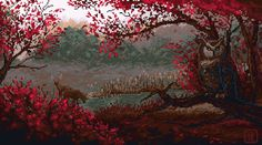 Pixel Art,Пиксель Арт, Пиксель-Арт,Pixel Gif,Sourwood glade,MalthusWolf,owl,deer