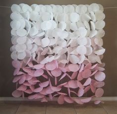 This gorgeous soft pink ombre paper garland backdrop would be a stunning accent for birthdays, weddings, or any other special occasion. This airy garland Diy Paper, Paper Crafts, Circle Garland, Coffee Crafts, Backdrop Stand, Event Decor, Paper Flowers, Craft Flowers, Diy Wedding