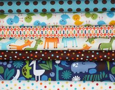 Boy's Day at the Zoo- Alexander Henry, Urban Zoologie and Remix Fabric by Ann Kelle - Fat Quarter Bundle- 7 total. $19.25, via Etsy.