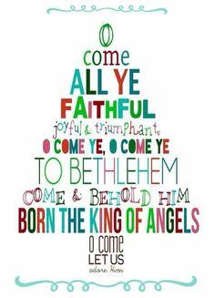 Oh come all ye faithful | printable | Christmas | Bethlehem | carols