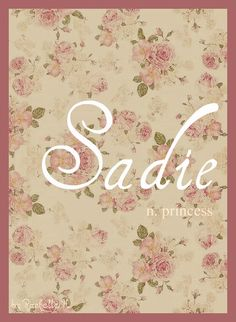 Baby Girl Name: Sadie. Meaning: Princess. Origin: German; English. http://www.pinterest.com/vintagedaydream/baby-names/