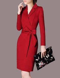 Mulheres Tamanhos Grandes Trabalho Sofisticado / Moda de Rua Delgado Tubinho Vestido - Laço, Sólido Colarinho de Camisa Altura dos de 6630391 2018 por R$104,36
